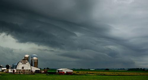dark skies over a farm