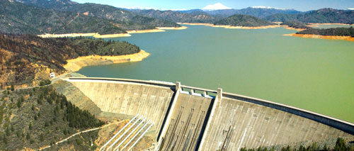 Lake Shasta reservoir above by the California Department of Water Resources