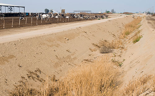 dry ditch with no water in California