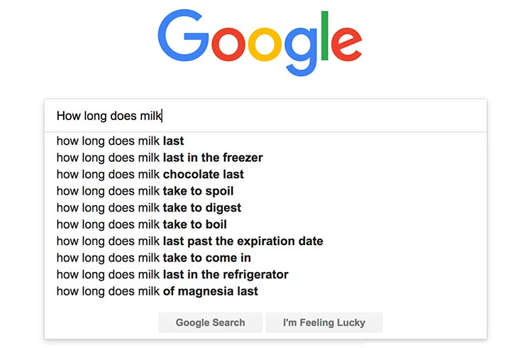 Google's Top Five Searches About Milk