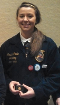 2012 FFA Dairy Handlers Overall Winner, Jessica Pralle from Wisconsin